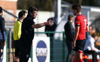 SOUTHAMPTON, ENGLAND - FEBRUARY 27: David Horseman (L) and Sam Bellis (R) of Southampton during Premier League 2 match between Southampton B Team and Manchester United U23s at The Snows Stadium on February 27, 2021 in Southampton, England. (Photo by Isabelle Field/Southampton FC via Getty Images)