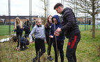 SOUTHAMPTON, ENGLAND - MARCH 17: As part of the Home Grown Initiative, Southampton FC has worked with Southampton City Council to organise planting 1,050 trees at Redbridge Community School, to commemorate the first team debuts of Dan Nlundulu, Kegs Chauke, Ryan Finnigan, Alex Jankewitz and Caleb Watts at Redbridge Community School, on March 17 2021 in Southampton, England. (Photo by Isabelle Field/Southampton FC via Getty Images)