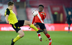 SOUTHAMPTON, ENGLAND - MARCH 23: Kazeem Olaigbe (R) of Southampton during the FA Youth Cup fourth round match between Southampton and Burton Albion at St Mary's Stadium on March 23, 2021 in Southampton, England. (Photo by Isabelle Field/Southampton FC via Getty Images)