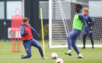 SOUTHAMPTON, ENGLAND - MARCH 24: Kameron Ledwidge (L) and Allan Tchaptchet (R) during Southampton B Team training session at Staplewood Complex on March 24, 2021 in Southampton, England. (Photo by Isabelle Field/Southampton FC via Getty Images)
