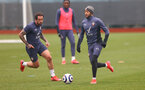 SOUTHAMPTON, ENGLAND - MARCH 31: Danny Ings(L) and Theo Walcott during a Southampton FC training session at the Staplewood Campus on March 31, 2021 in Southampton, England. (Photo by Matt Watson/Southampton FC via Getty Images)