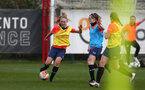 SOUTHAMPTON, ENGLAND - April 01: Kelly Snook (L) and Ella Pusey (R) during Southampton Women's training session at Staplewood Complex on April 01, 2021 in Southampton, England.  (Photo by Isabelle Field/Southampton FC via Getty Images)