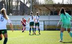 SOUTHAMPTON, ENGLAND - APRIL 04: Lucia Kendall of Southampton takes free kick during the Vitality Women's FA Cup second round match between Southampton Women and Plymouth Argyle Women at The Snows Stadium on April 04, 2021 in Southampton, England. (Photo by Isabelle Field/Southampton FC via Getty Images)