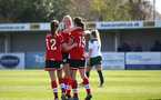 SOUTHAMPTON, ENGLAND - APRIL 04: Rachel Panting (R) of Southampton celebrate scoring with team mates during the Vitality Women's FA Cup second round match between Southampton Women and Plymouth Argyle Women at The Snows Stadium on April 04, 2021 in Southampton, England. (Photo by Isabelle Field/Southampton FC via Getty Images)