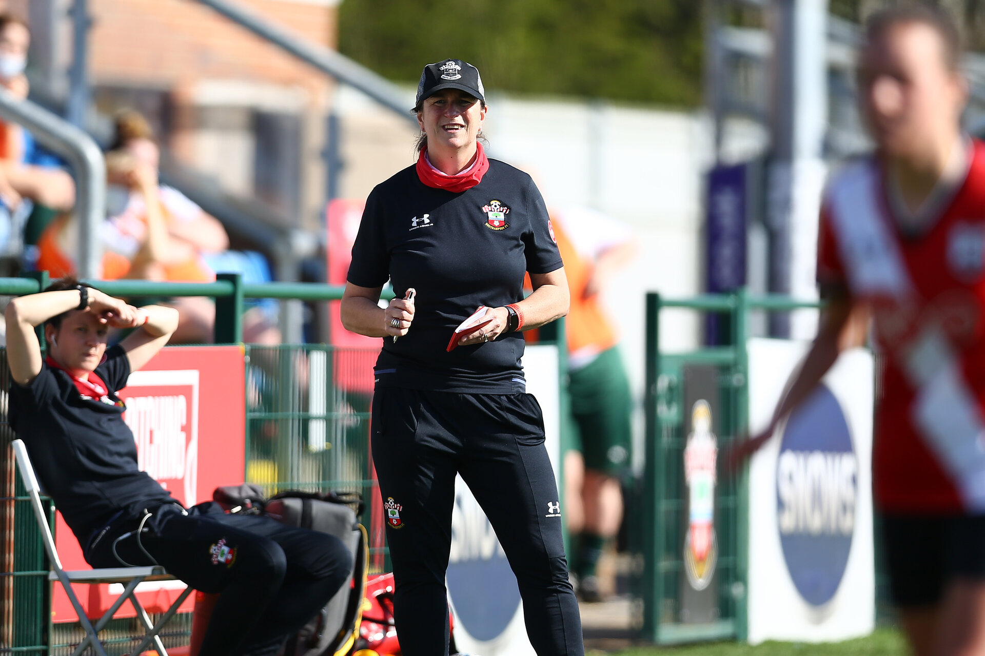 SOUTHAMPTON, ENGLAND - APRIL 04: Marieanne Spacey-Cale Southampton women manager during the Vitality Women's FA Cup second round match between Southampton Women and Plymouth Argyle Women at The Snows Stadium on April 04, 2021 in Southampton, England. (Photo by Isabelle Field/Southampton FC via Getty Images)