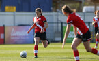 SOUTHAMPTON, ENGLAND - APRIL 04: Georgie Freeland of Southampton during the Vitality Women's FA Cup second round match between Southampton Women and Plymouth Argyle Women at The Snows Stadium on April 04, 2021 in Southampton, England. (Photo by Isabelle Field/Southampton FC via Getty Images)