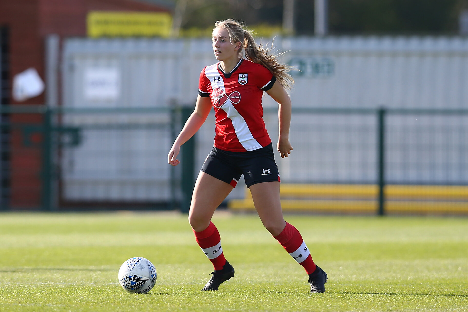 SOUTHAMPTON, ENGLAND - APRIL 04: Cattlin Morris of Southampton during the Vitality Women's FA Cup second round match between Southampton Women and Plymouth Argyle Women at The Snows Stadium on April 04, 2021 in Southampton, England. (Photo by Isabelle Field/Southampton FC via Getty Images)