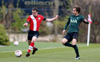 SOUTHAMPTON, ENGLAND - APRIL 10: Sonnie Davis (L) of Southampton during the Premier League U18s match between Southampton U18 and Tottenham Hotspur at Staplewood Campus on April 10, 2021 in Southampton, England. (Photo by Isabelle Field/Southampton FC via Getty Images)
