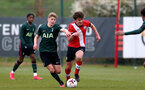 SOUTHAMPTON, ENGLAND - APRIL 10: Luke Pearce (R) of Southampton during the Premier League U18s match between Southampton U18 and Tottenham Hotspur at Staplewood Campus on April 10, 2021 in Southampton, England. (Photo by Isabelle Field/Southampton FC via Getty Images)