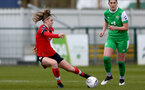 SOUTHAMPTON, ENGLAND - APRIL 11: Ella Pusey (L) of Southampton during the Vitality Women's FA Cup third round match between Southampton Women and Yeovil United Women at The Snows Stadium on April 11, 2021 in Southampton, England. (Photo by Isabelle Field/Southampton FC via Getty Images)