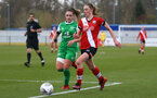 SOUTHAMPTON, ENGLAND - APRIL 11: Rachel Panting (R) of Southampton during the Vitality Women's FA Cup third round match between Southampton Women and Yeovil United Women at The Snows Stadium on April 11, 2021 in Southampton, England. (Photo by Isabelle Field/Southampton FC via Getty Images)