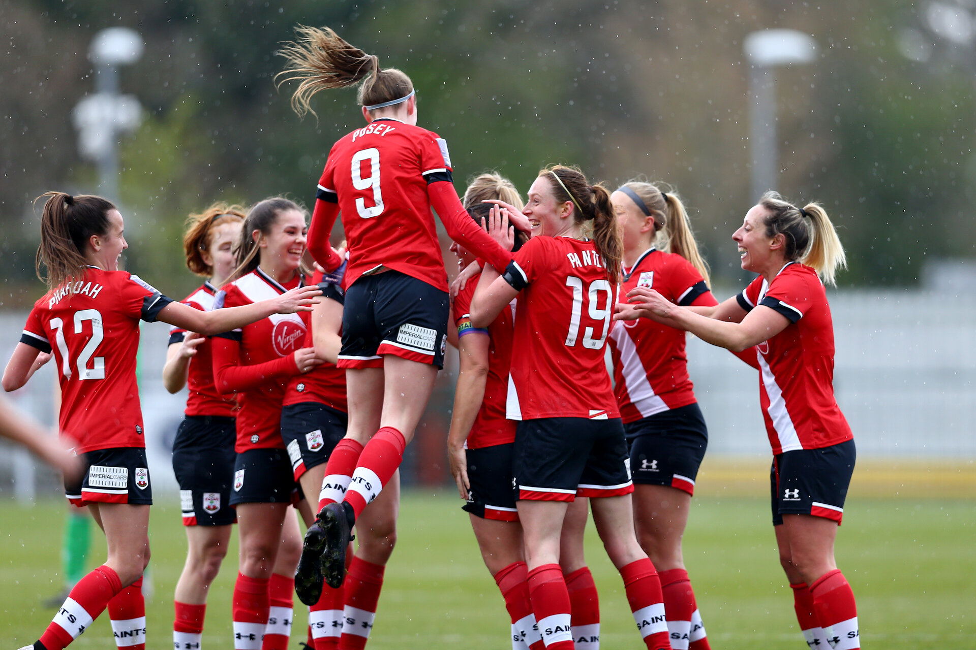 SOUTHAMPTON, ENGLAND - APRIL 11: Southampton players celebrate with Shannon Siewright as she opens the scoring during the Vitality Women's FA Cup third round match between Southampton Women and Yeovil United Women at The Snows Stadium on April 11, 2021 in Southampton, England. (Photo by Isabelle Field/Southampton FC via Getty Images)
