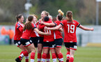 SOUTHAMPTON, ENGLAND - APRIL 11: Rachel Panting (R) running over to celebrates with team mates after they open the scoring  during the Vitality Women's FA Cup third round match between Southampton Women and Yeovil United Women at The Snows Stadium on April 11, 2021 in Southampton, England. (Photo by Isabelle Field/Southampton FC via Getty Images)