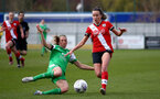 SOUTHAMPTON, ENGLAND - APRIL 11: Sophia Pharoah (R) of Southampton during the Vitality Women's FA Cup third round match between Southampton Women and Yeovil United Women at The Snows Stadium on April 11, 2021 in Southampton, England. (Photo by Isabelle Field/Southampton FC via Getty Images)