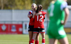 SOUTHAMPTON, ENGLAND - APRIL 11: Cattlin Morris (L) and Sophia Pharoah (R) of Southampton during the Vitality Women's FA Cup third round match between Southampton Women and Yeovil United Women at The Snows Stadium on April 11, 2021 in Southampton, England. (Photo by Isabelle Field/Southampton FC via Getty Images)