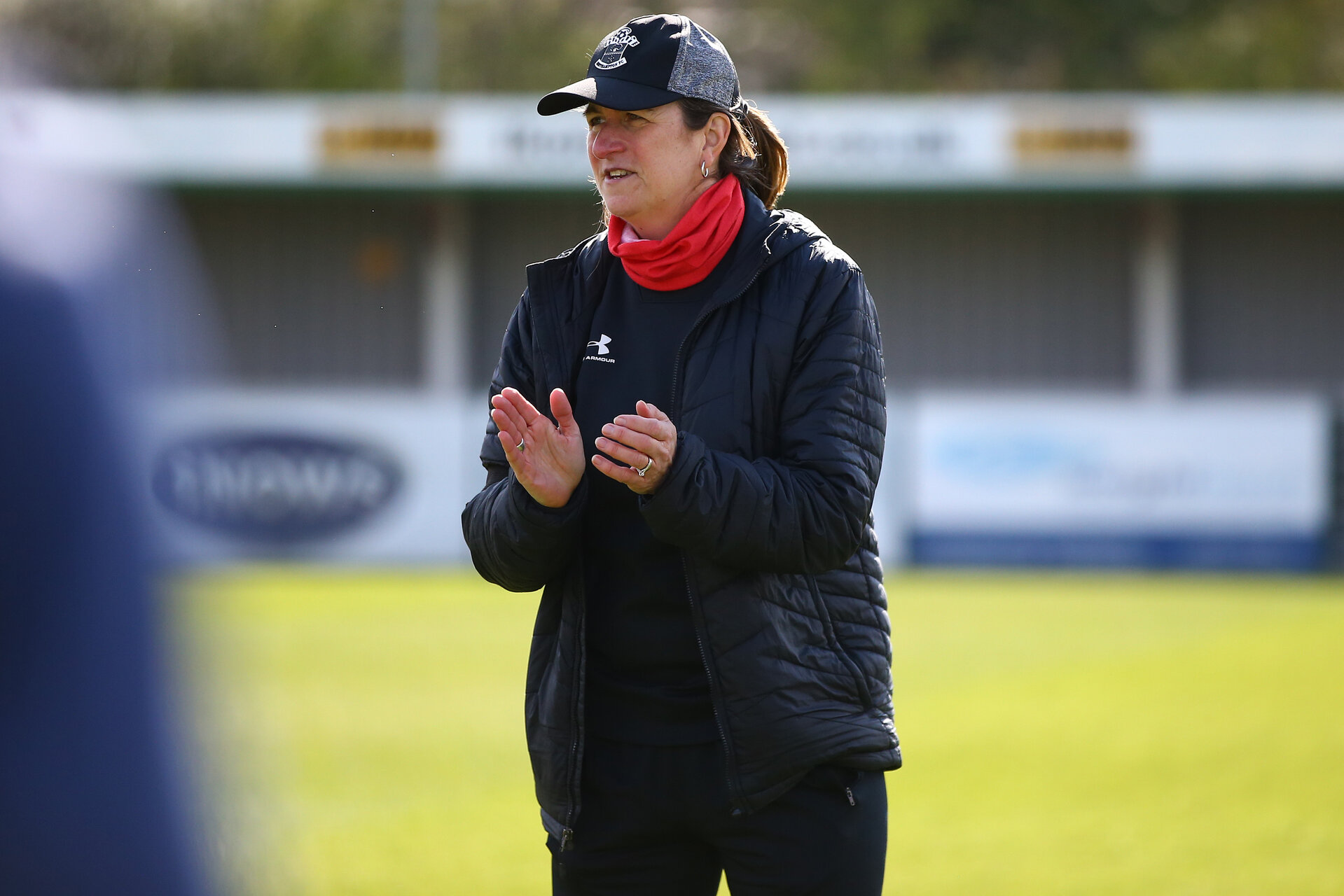 SOUTHAMPTON, ENGLAND - APRIL 11: Marieanne Spacey-Cale Southampton women's head coach during the Vitality Women's FA Cup third round match between Southampton Women and Yeovil United Women at The Snows Stadium on April 11, 2021 in Southampton, England. (Photo by Isabelle Field/Southampton FC via Getty Images)