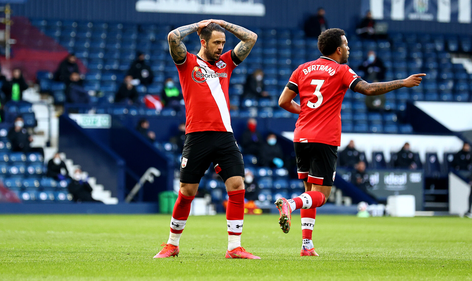 WEST BROMWICH, ENGLAND - APRIL 12: Danny Ings of Southampton dejected during the Premier League match between West Bromwich Albion and Southampton at The Hawthorns on April 12, 2021 in West Bromwich, England. Sporting stadiums around the UK remain under strict restrictions due to the Coronavirus Pandemic as Government social distancing laws prohibit fans inside venues resulting in games being played behind closed doors. (Photo by Matt Watson/Southampton FC via Getty Images)