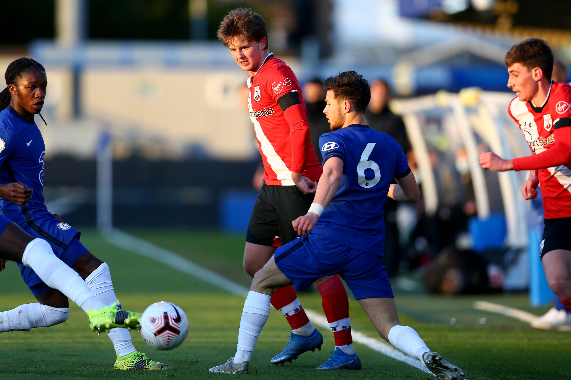 KINGSTON UPON THAMES, LONDON, ENGLAND - APRIL 12:  during the Premier League 2 match between U23 Chelsea FC and Southampton B Team at the Kingsmeadow Stadium on April 12, 2021 in Kingston upon Thames, London, England.  (Photo by Isabelle Field/Southampton FC via Getty Images)