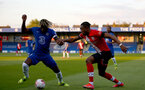 KINGSTON UPON THAMES, LONDON, ENGLAND - APRIL 12: Dan N'Lundulu (R) of Southampton during the Premier League 2 match between U23 Chelsea FC and Southampton B Team at the Kingsmeadow Stadium on April 12, 2021 in Kingston upon Thames, London, England.  (Photo by Isabelle Field/Southampton FC via Getty Images)