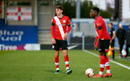KINGSTON UPON THAMES, LONDON, ENGLAND - APRIL 12: James Morris (L) and Kazeem Olaigbe (R) of Southampton during the Premier League 2 match between U23 Chelsea FC and Southampton B Team at the Kingsmeadow Stadium on April 12, 2021 in Kingston upon Thames, London, England.  (Photo by Isabelle Field/Southampton FC via Getty Images)