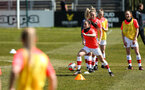 LEWES, ENGLAND - APRIL 18: Warming up before the Women's FA Cup 4th round match between Lewes FC and Southampton at The Dripping Pan on April 18, 2021 in Lewes, United Kingdom. Sporting stadiums around the UK remain under strict restrictions due to the Coronavirus pandemic as UK government social distancing laws prohibit fans inside venues resulting in games being played behind closed doors. (Photo by Chris Moorhouse/Southampton FC via Getty Images)