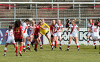 LEWES, ENGLAND - APRIL 18: Rachel Panting defends during the Women's FA Cup 4th round match between Lewes FC and Southampton at The Dripping Pan on April 18, 2021 in Lewes, United Kingdom. Sporting stadiums around the UK remain under strict restrictions due to the Coronavirus pandemic as UK government social distancing laws prohibit fans inside venues resulting in games being played behind closed doors. (Photo by Chris Moorhouse/Southampton FC via Getty Images)