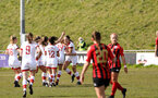 LEWES, ENGLAND - APRIL 18: Rachel Panting's goal celebration during the Women's FA Cup 4th round match between Lewes FC and Southampton at The Dripping Pan on April 18, 2021 in Lewes, United Kingdom. Sporting stadiums around the UK remain under strict restrictions due to the Coronavirus pandemic as UK government social distancing laws prohibit fans inside venues resulting in games being played behind closed doors. (Photo by Chris Moorhouse/Southampton FC via Getty Images)