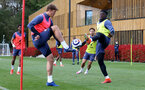 SOUTHAMPTON, ENGLAND - MAY 05: Jannik Vestergaard(L) and Mohammed Salisu during a Southampton FC training session at the Staplewood Campus on May 05, 2021 in Southampton, England. (Photo by Matt Watson/Southampton FC via Getty Images)