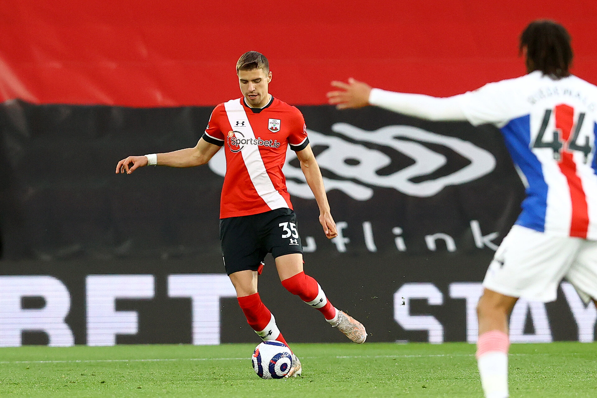 SOUTHAMPTON, ENGLAND - MAY 11: Jan Bednarek of Southampton during the Premier League match between Southampton and Crystal Palace at St Mary's Stadium on May 11, 2021 in Southampton, England. Sporting stadiums around the UK remain under strict restrictions due to the Coronavirus Pandemic as Government social distancing laws prohibit fans inside venues resulting in games being played behind closed doors.  (Photo by Matt Watson/Southampton FC via Getty Images)