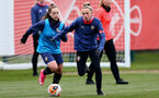 SOUTHAMPTON, ENGLAND - MAY 12: Ellie Chaffe (L) and Phoebe Williams (R) during Southampton Women's training session at Staplewood Training Ground on May 12, 2021 in Southampton, England.  (Photo by Isabelle Field/Southampton FC via Getty Images)