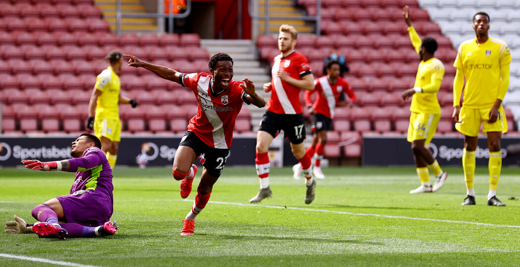 SOUTHAMPTON, ENGLAND - MAY 15: Nathan Tella of Southampton celebrates after scoring his teams second goal during the Premier League match between Southampton and Fulham at St Mary's Stadium on May 15, 2021 in Southampton, England. Sporting stadiums around the UK remain under strict restrictions due to the Coronavirus Pandemic as Government social distancing laws prohibit fans inside venues resulting in games being played behind closed doors.  (Photo by Matt Watson/Southampton FC via Getty Images)