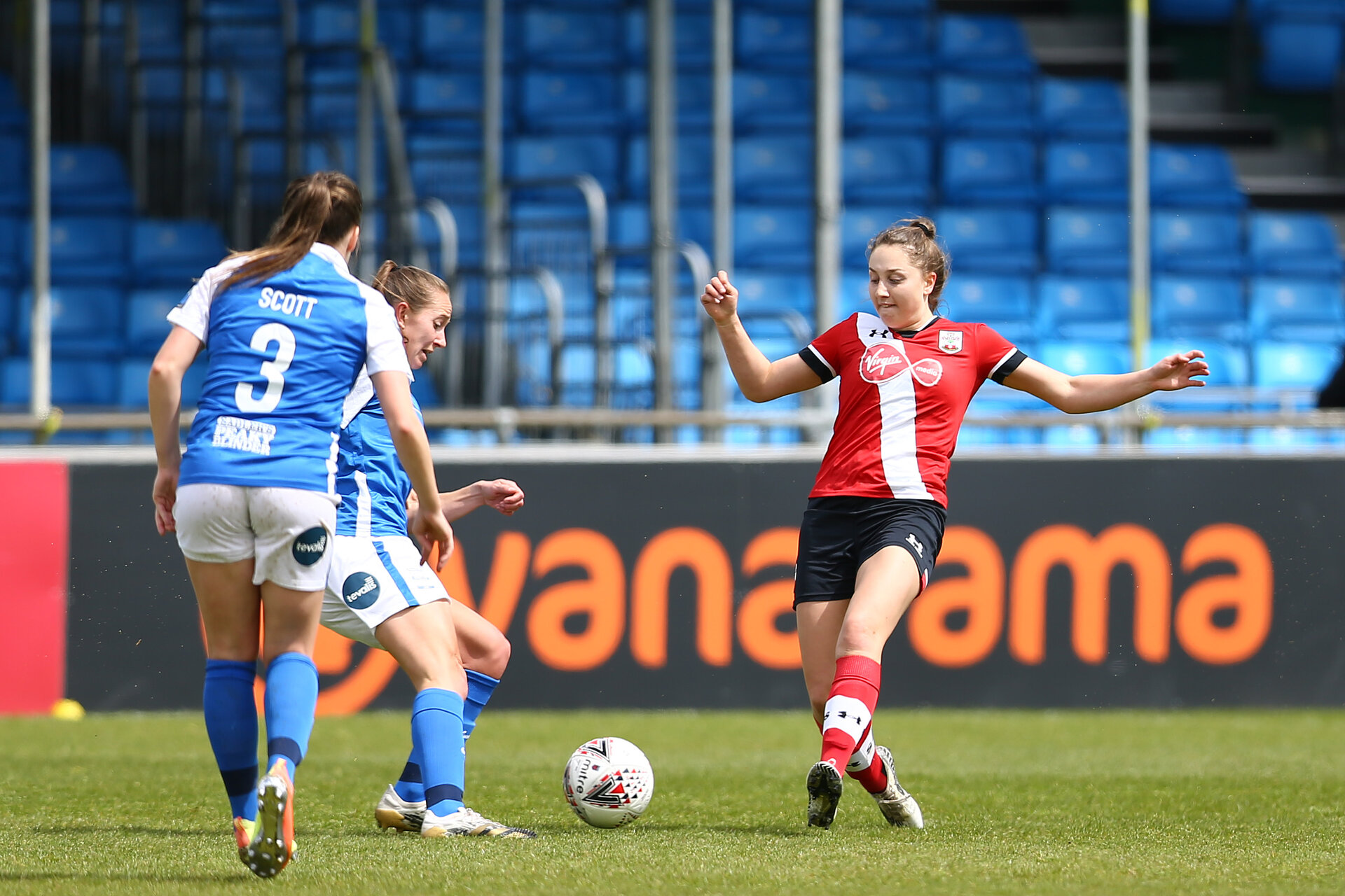 SOLIHULL, ENGLAND - MAY 16:  during Vitality Women's FA Cup 5th Round match between Birmingham City Women and Southampton Women at Damson Park on May 16, 2021 in Solihull, England. Sporting stadiums around the UK remain under strict restrictions due to the Coronavirus Pandemic as Government social distancing laws prohibit fans inside venues resulting in games being played behind closed doors.  (Photo by Isabelle Field/Southampton FC via Getty Images)