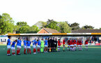 HAVANT, ENGLAND - MAY 19: Portsmouth and Southampton players line up ahead of the Hampshire FA Women's Senior Cup Final against Portsmouth Women and Southampton Women at Westleigh Park on May 19, 2021 in Havant, England. (Photo by Isabelle Field/Southampton FC via Getty Images)