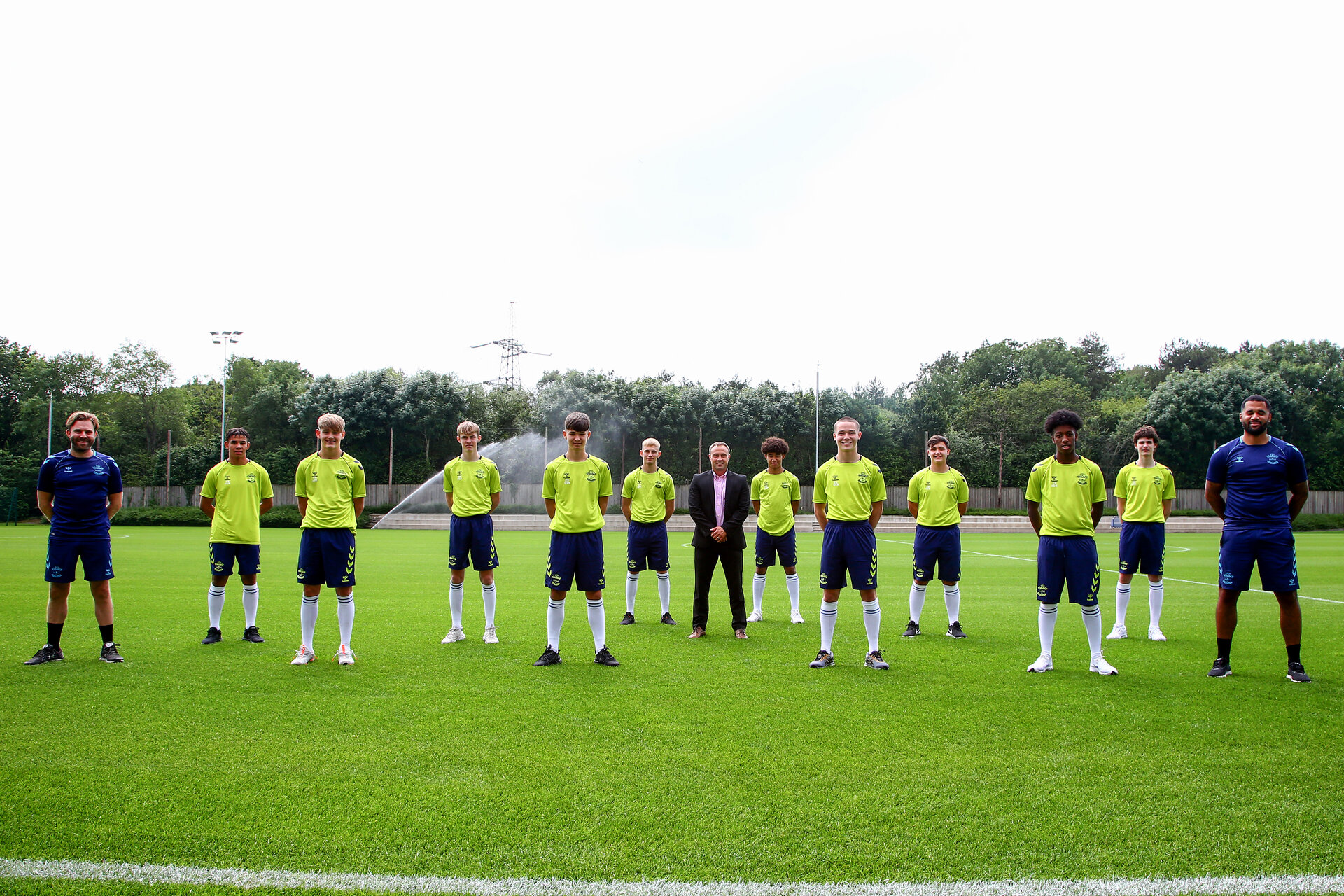 SOUTHAMPTON, ENGLAND - July 01: (Left to Right) Joshua Squires, Dominic Ballard, Cameron Bragg, Ryan Chavez-Munoz, Jeremiah Hewlett, Kamari Doyle, Sonnie Davis, Tommy-Lee Higgs, Joshua Lett and  Rylee Wright photographed signing as a new scholars with Southampton FC at Staplewood training ground on July 01, 2021 in Southampton, England. (Photo by Isabelle Field/Southampton FC via Getty Images)