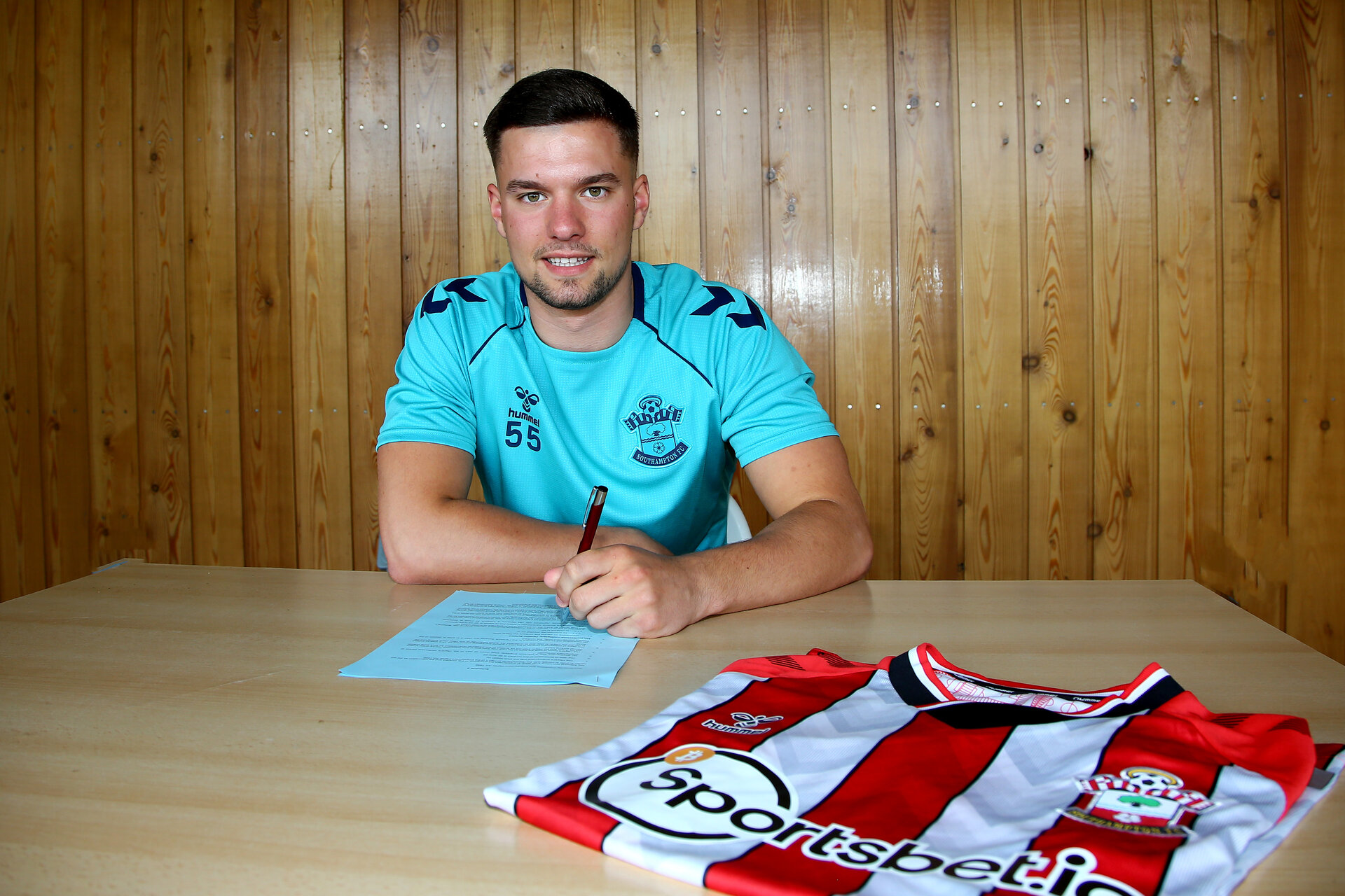 SOUTHAMPTON, ENGLAND - July 01: Jack Turner photographed signing as pro deal with Southampton FC at Staplewood training ground on July 01, 2021 in Southampton, England. (Photo by Isabelle Field/Southampton FC via Getty Images)