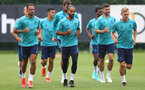 SOUTHAMPTON, ENGLAND - JULY 07: Theo Walcott(centre) during a Southampton FC pre-season training session at The Staplewood Campus on July 07, 2021 in Southampton, England. (Photo by Matt Watson/Southampton FC via Getty Images)