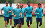 SOUTHAMPTON, ENGLAND - JULY 07: James Ward-Prowse at the front of the warm up group during a Southampton FC pre-season training session at The Staplewood Campus on July 07, 2021 in Southampton, England. (Photo by Matt Watson/Southampton FC via Getty Images)