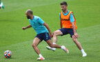 SOUTHAMPTON, ENGLAND - JULY 07: Nathan Redmond(L) and Shane Long during a Southampton FC pre-season training session at The Staplewood Campus on July 07, 2021 in Southampton, England. (Photo by Matt Watson/Southampton FC via Getty Images)