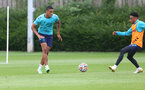 SOUTHAMPTON, ENGLAND - JULY 07: Yan Valery(L) and Kyle Walker-Peters during a Southampton FC pre-season training session at The Staplewood Campus on July 07, 2021 in Southampton, England. (Photo by Matt Watson/Southampton FC via Getty Images)