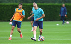 SOUTHAMPTON, ENGLAND - JULY 08: Mohamed Elyounoussi(L) and Oriol Romeu during a Southampton FC pre season training session at the Staplewood Campus on July 08, 2021 in Southampton, England. (Photo by Matt Watson/Southampton FC via Getty Images)