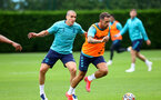 SOUTHAMPTON, ENGLAND - JULY 08: Oriol Romeu(L) and Danny Ings during a Southampton FC pre season training session at the Staplewood Campus on July 08, 2021 in Southampton, England. (Photo by Matt Watson/Southampton FC via Getty Images)