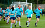 SOUTHAMPTON, ENGLAND - July 08: Ella Morris(L), Catilin Morris, Phoebe Williams and Ella Pusey(R) during Southampton Women's per season training session at Staplewood training ground on July 08, 2021 in Southampton, England. (Photo by Isabelle Field/Southampton FC via Getty Images)
