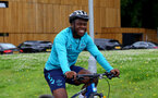 SOUTHAMPTON, ENGLAND - JULY 15: Michael Obafemi during team building cycle ride around Deerleap, New Forest on July 15, 2021 in Southampton, England. (Photo by Isabelle Field/Southampton FC via Getty Images)