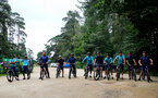 SOUTHAMPTON, ENGLAND - JULY 15: Southampton players and coaching staff during team building cycle ride around Deerleap, New Forest on July 15, 2021 in Southampton, England. (Photo by Isabelle Field/Southampton FC via Getty Images)