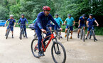 SOUTHAMPTON, ENGLAND - JULY 15: Ralph Hasenhuttl during team building cycle ride around Deerleap, New Forest on July 15, 2021 in Southampton, England. (Photo by Isabelle Field/Southampton FC via Getty Images)