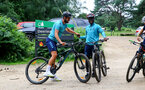 SOUTHAMPTON, ENGLAND - JULY 15: Jack Stephens(L) and Nathan Tella(R) during team building cycle ride around Deerleap, New Forest on July 15, 2021 in Southampton, England. (Photo by Isabelle Field/Southampton FC via Getty Images)