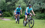 SOUTHAMPTON, ENGLAND - JULY 15: Fraser Forster(L) and Alex McCarthy(R) during team building cycle ride around Deerleap, New Forest on July 15, 2021 in Southampton, England. (Photo by Isabelle Field/Southampton FC via Getty Images)