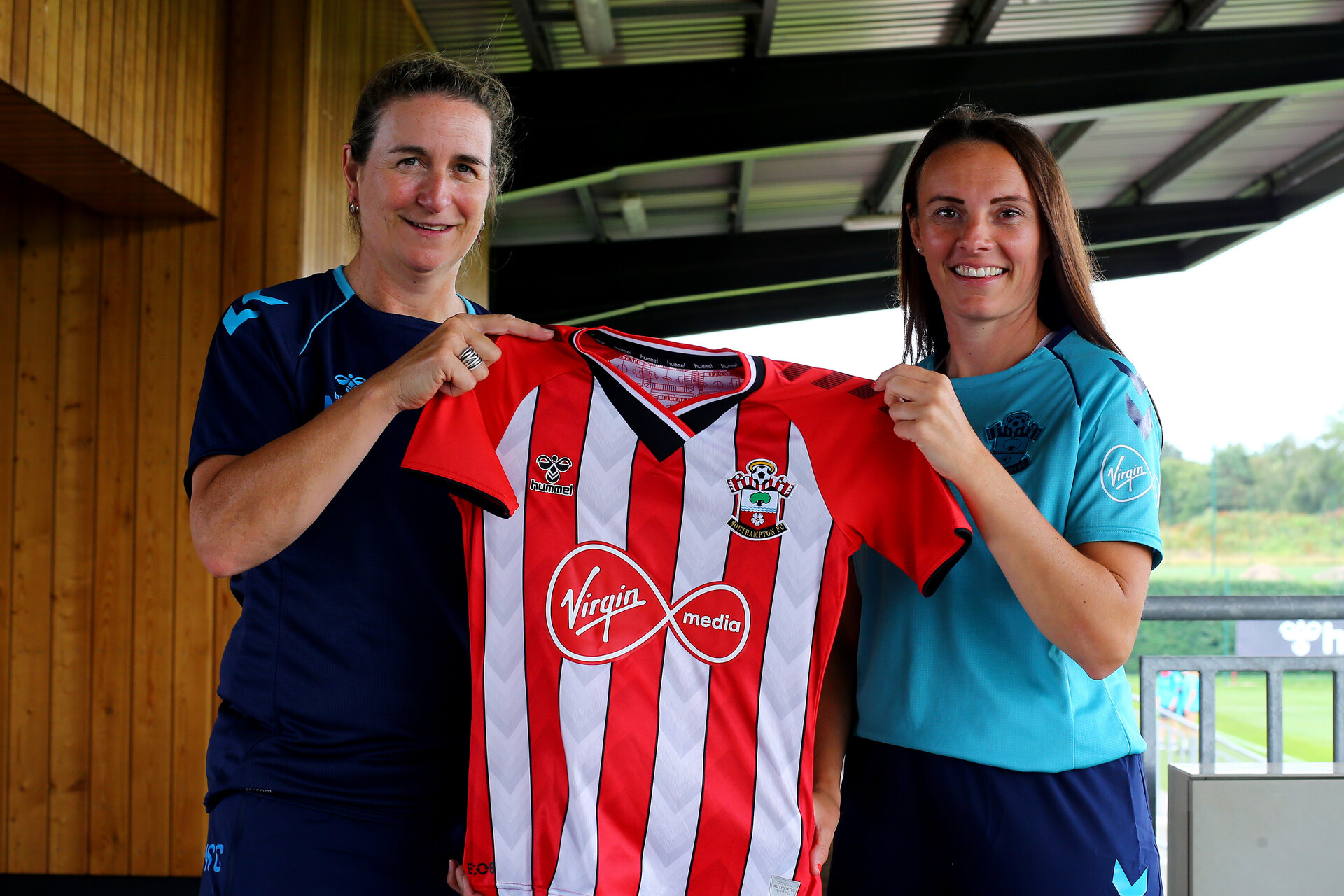 SOUTHAMPTON, ENGLAND - JULY 15:  Marieanne Spacey-Cale(L) and Leeta Rutherford(R) signing a new contract with Southampton Women's team photographed at Staplewood Complex on July 15, 2021 in Southampton, England. (Photo by Isabelle Field/Southampton FC via Getty Images)