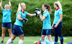 SOUTHAMPTON, ENGLAND - JULY 15: Rosie Parnell(L) and Rachel Panting(R) during Southampton Women's per-season training session at Staplewood Complex on July 15, 2021 in Southampton, England. (Photo by Isabelle Field/Southampton FC via Getty Images)