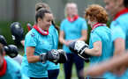 SOUTHAMPTON, ENGLAND - JULY 15: Sophia Pharoah(L) and Molly Mott(R) during Southampton Women's per-season training session at Staplewood Complex on July 15, 2021 in Southampton, England. (Photo by Isabelle Field/Southampton FC via Getty Images)